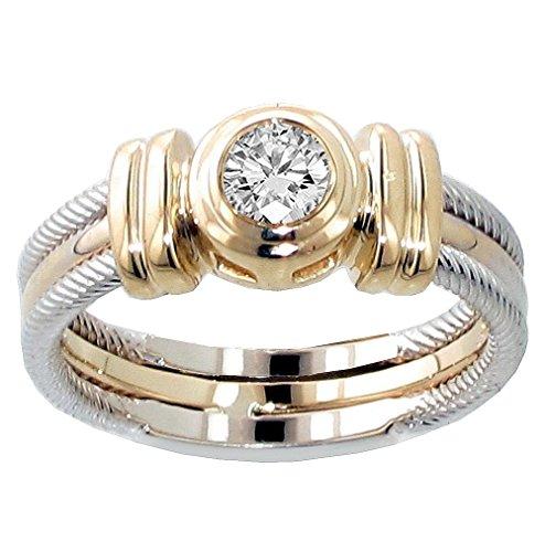 VIP Jewelry Art 0.25 CT TW Two Tone Bezel Set Diamond Anniversary Wedding Ring in 14k Gold - Size 12 (0.25 Ct Art)