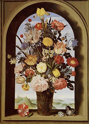 Het Museum Outlet - Stilleven met bloemen in een glazen vaas in het raam uitsparing - Poster Print Online (24 x 18 Inch)