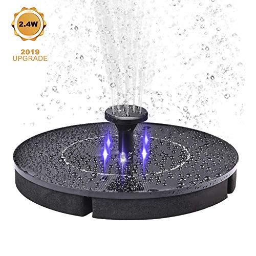 cheerfullus LED Solar Fountain Pump,2.4W Waterproof Water Pump Solar Panel with Submersible Pump,Led Light for Bird Bath,Pond,Garden Fountain