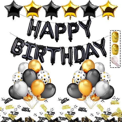 iZoeL Schwarz Gold Geburtstag Deko 18 21 30 40 50 Zahlenballon Happy Birthday Banner 24 Konfetti Ballons 2 Vorhänge 10g Konfetti für Mann Frau (Schwarz Gold ohne Zahl)