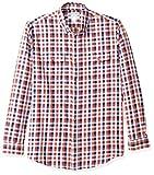 Amazon Essentials, Camicia in twill a manica lunga con due taschini, Uomo, Rosso (Navy/Red Check Nrc), M