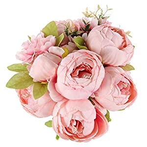 TYMG HOME Vintage Artificial Peony Silk Flowers Bouquet Home Wedding Decoration (Spring Rose Pink)