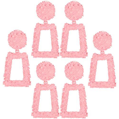 Jeanoko Pendientes Colgantes de Gota Pendientes de Moda Pernos prisioneros de Color Rosa 3 Pares de Pendientes Pendientes Elegantes para Todos los Partidos Joyería Regalo Decoración para niñas para
