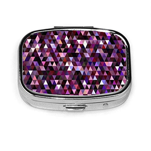 Pastillero - Pastillero personalizado con diseño geométrico de bajo poliéster galáctico, portátil, rectangular de metal plateado, compacto 2 espacios, pastilleros para viaje/bolsillo/monedero