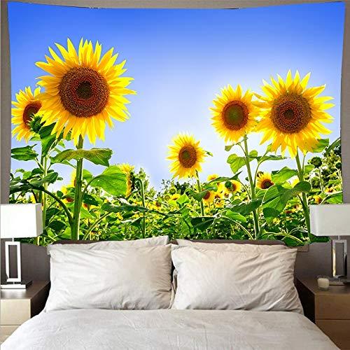 KHKJ Tapiz de Girasol Colgante de Pared Tapices de Pintura de Flores Mandala Art Paño de Pared Alfombra Estera Manta de Cama Decoración A7 150x130cm