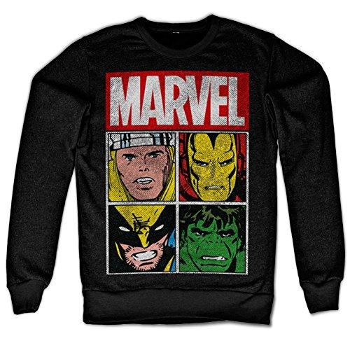 Marvel Distressed Characters Sweatshirt (Noir), Large
