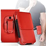 i-Tronixs (RED) Alcatel OneTouch Idol Alpha Élégant en cuir Faux Ceinture Holster flip Titulaire Pouch Case Cover