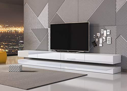 3xeLiving Innovadora y Moderna Mesa de TV Sajna 280cm Blanco / Blanco Brillo