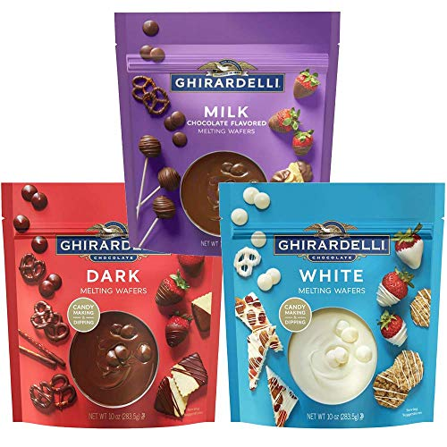 Ghirardelli Melting Wafers Bundle, Milk Chocolate, Dark Chocolate, White Chocolate, Set of 3