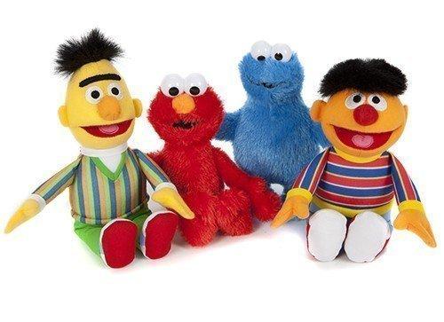 SESAMSTRASSE PELUCHE FIGURINES 4 Lot Bert, Elmo, Ernie, macaron 21cm