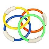 Mattelsen Set di 4 anelli da immersione, per nuoto subacqueo, nuoto, piscina, giochi e sport acquatici, per bambini e adulti, supporto per nuoto