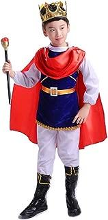 Spinas(スピナス) キング プリンス 王子 王様風 コスチューム 子供用 ハロウィン コスプレ キッズ 男の子 仮装 コスチューム 衣装セット ブルー 王冠 杖