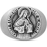 Steve Madden Oxidized Stainless Steel Saint Marguerite Faith Design Ring for Men (Size 11)