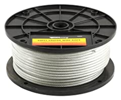 250 feet vinyl coated galvanized wire rope aircraft cable On plastic reel Breaking strength: 1,700-Pounds Not suitable for overhead lifting Is not intended for aircraft use but is designed for industrial and marine applications Spool, vinyl coated wi...