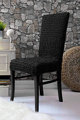 Mixibaby Fiora Stretch Stuhlhusse Stuhlbezug Elastische Husse Dekoration Stuhl Husse aus Elastik-Stoff für universelle Passform, Farbe:Schwarz