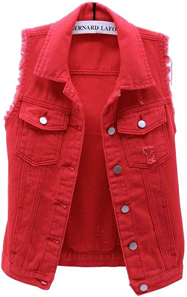 HALITOSS Women's Buttoned Washed Denim Jacket Sleeveless Crop Vest 6 Color
