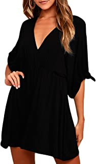 Women's Plunge V Neck Ruched Draped Loose Casual A Line Skater Dress
