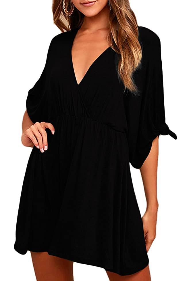 Meenew Women's Plunge V Neck Ruched Draped Loose Casual A Line Skater Dress ypj186162114784