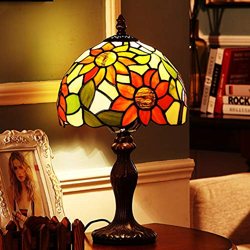 Lámpara de mesa Tiffany girasol estilo pastoral diseño europeo dormitorio lámpara de noche salón bar comedor cafetería decoración retro iluminación interior Ø20cm E27