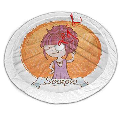 Zodiac Scorpio Luxury Tree Skirt Cartoon Style Illustration of a Girl with a Scorpion Tail Hairdo for Kids for Xmas Party Decoration Multicolor 30 Inch