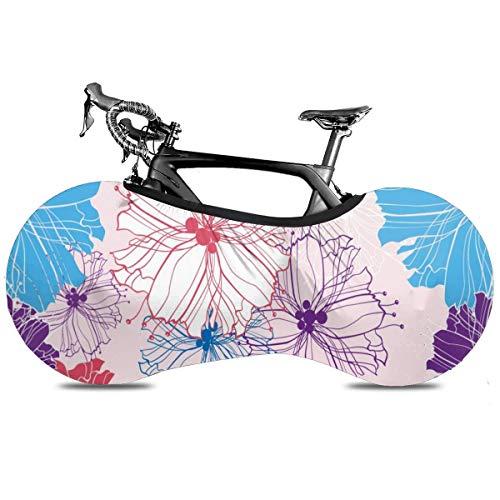 Cubierta de bicicleta portátil con patrón de aguacate para interior antipolvo y alta elasticidad, cubierta protectora para rueda de bicicleta Rip Stop Neumático Carretera MTB Bolsa de almacenamiento, Patrón abstracto de flores., talla única