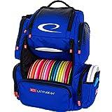 Latitude 64 Luxury E4 Backpack Disc Golf Bag   20+ Disc Capacity   Multiple Storage Pockets   Water Bottle Holder   Frisbee Golf Backpack Bag (Blue)