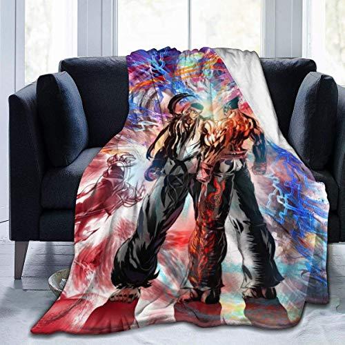 XCVD Ryu Vs Kazuya The King of Fighters Juego Mantas de Felpa de Felpa Ultra Suave, cálida y acogedora, Franela antipilling, para Todas Las Estaciones, para sofá Cama, 60