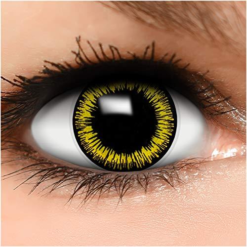 Farbige Kontaktlinsen Werwolf in gelb schwarz + Behälter - Top Linsenfinder Markenqualität, 1Paar (2 Stück)