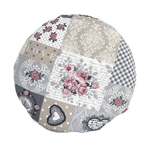 """beties """"Dorfkinder"""" Kissenhülle rund ca. 40 cm Ø Kissenbezug in großer Sortiments- und Größenauswahl - Shabby Chic für den perfekten Landhaus Style Farbe (Silber-Mauve)"""