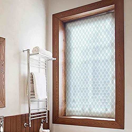 ousente Light Blue Privacy Window Film, 17x36 Inches, Elliptical Shapes with Star Like Symbols Inside Wavy Bold Chain Pattern No Glue Anti-UV Window Sticker for Bathroom Shower Door