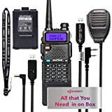 Extended Ham Radio Starter Kit Mirkit Baofeng Radio UV-5R MK4 8 Watt MP Max Power with 3800 mAh, Handheld Mic, Baofeng Programming Cable and Software - Extra Pack