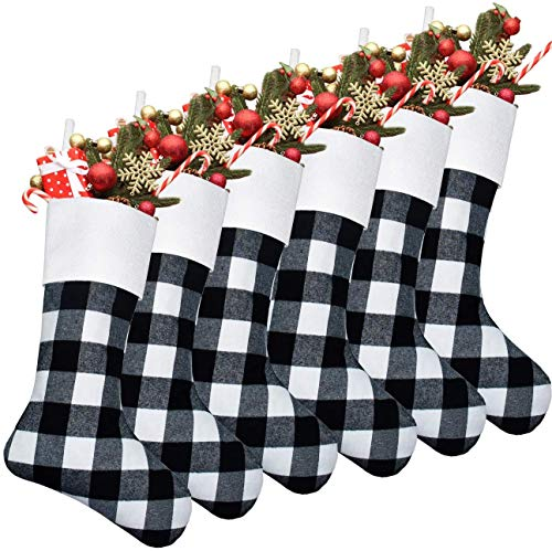 Senneny 6 Pack Christmas Stockings- 18 Inch Black White Buffalo Plaid Christmas Stockings Fireplace Hanging Stockings for Family Christmas Decoration Holiday Season Party Decor