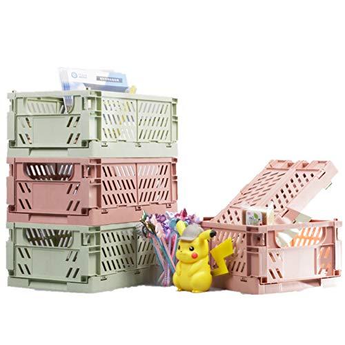 BAREGO Caja de Almacenamiento Plegable de plástico,Caja plastico Plegable Fruta,Cesta Plegable Camping plastico,Cocina, Juguetes de Dormitorio, Ropa, Almacenamiento de Archivos(Rosado)