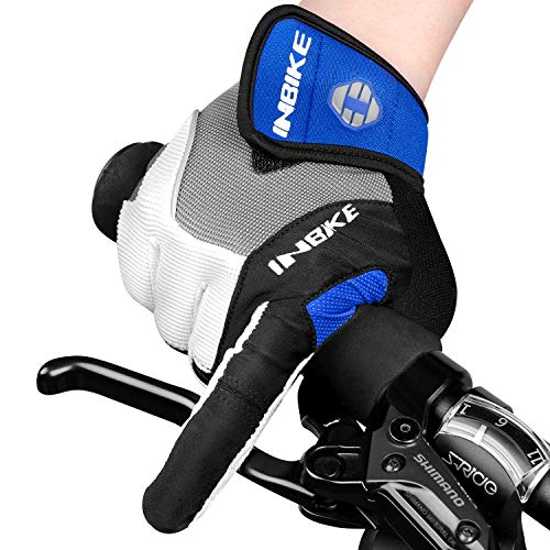 INBIKE Men's Cycling Gloves, Full Finger Gel Padded Mountain Bike Blue Large