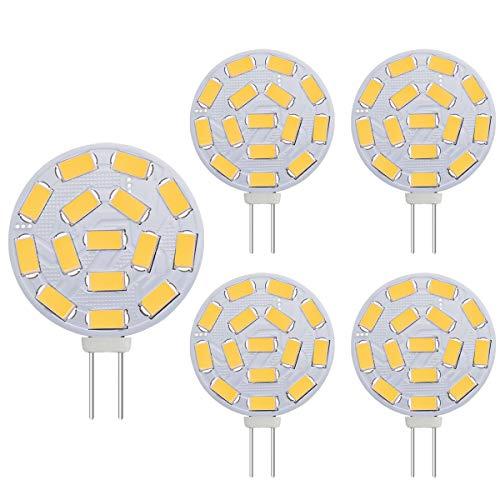 G4 3W LED Ampoules, équivalent à 20-30W lampes halogènes, G4 Base AC/DC 12V, 300 LM, éclairage encastré, éclairage sur rail, blanc chaud (3000K, 5pcs)
