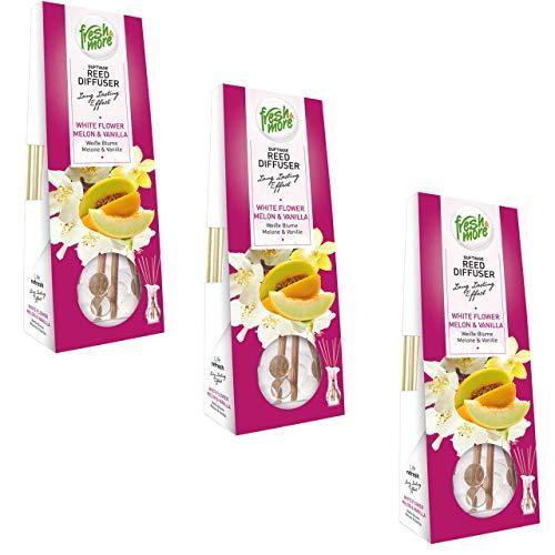 3x Fresh&More Raum-Duftvasen Lufterfrischer, (3x 35ml) (Weiße Blume Melone&Vanille)