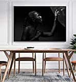 ganlanshu Pintura sin Marco Arte Abstracto Cartel de Mujer Africana Estilo nórdico Retrato de niña Artista de Pared Decoración para el hogarZGQ2315 60X80cm