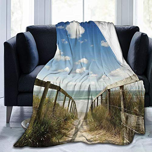BEITUOLA Kuscheldecke Fleecedecke Flanell Decke Sandy Path führt zu Ocean Pacific Puffy Clouds Vacation Serene Relaxing Beach Blanket Für Bett Sofa Schlafzimmer Büro 153x204cm