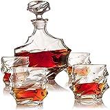BaiJaC Copas de cóctel, Dispensador de Botellas de Licor Whisky Decanter Set Elegante lavaplatos Safe Glass Liquor Bourbon Decanter Ultra-Clarity Glassware Whiskey Set de Regalo