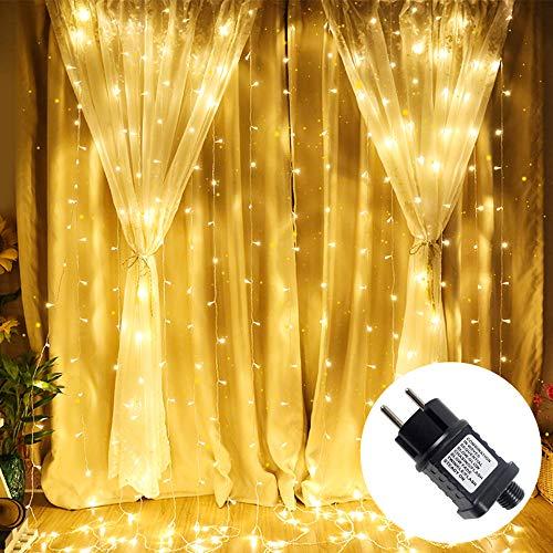 UISEBRT Lichtervorhang LED Lichterkette 6x3m Warmweiß - 600 LEDs mit 8 Leuchtmodi für Weihnachten Hochzeit Party Innen und außen Deko (6x3m)