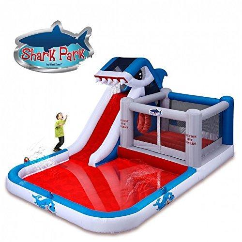 Blast Zone Shark Park - Inflatable Water Park Bouncer with Blower - Climbing Wall - Slide - Splash Area - Huge