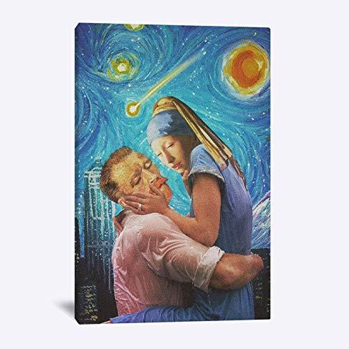 JXFFF Handgemalt DIY(40x50cm Kein Rahmen) Van Gogh Sternennacht MädchenDIY Ölfarbe durch Anzahl Kit Van Gogh SonnenblumeErwachsene Anfänger KinderNeue kreative Kinder Leinwand