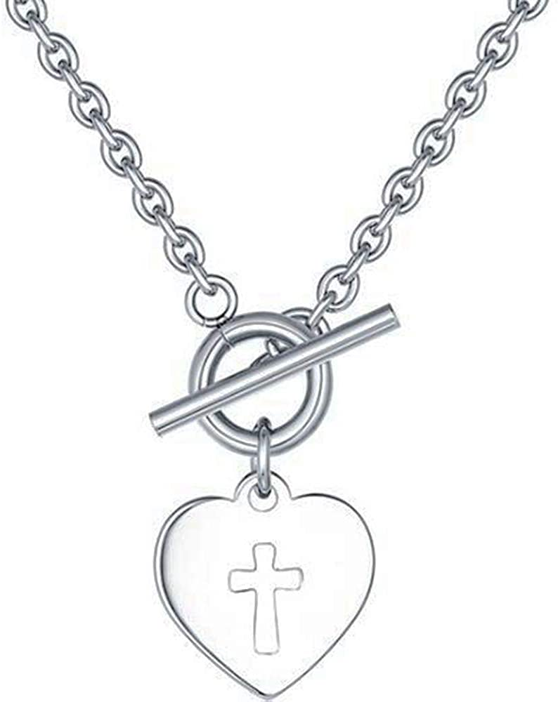 Jude Jewelers Stainless Steel Heart Shape Christian Cross Pendant Religious Necklace