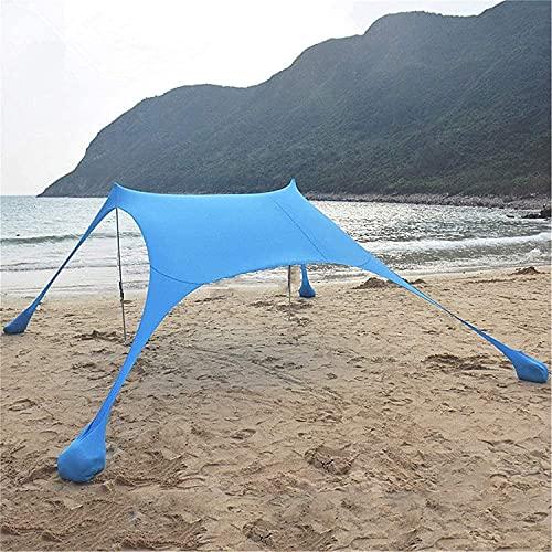 Tiendas de campaña para camping Tienda Abrir Canopy UV Protección de UV Playa Carpa Familia Sol de Sol Tienda con 2 polos de acero plegable ligero 4 Bolsas de arena Ancla grande Portátil Rain Camping