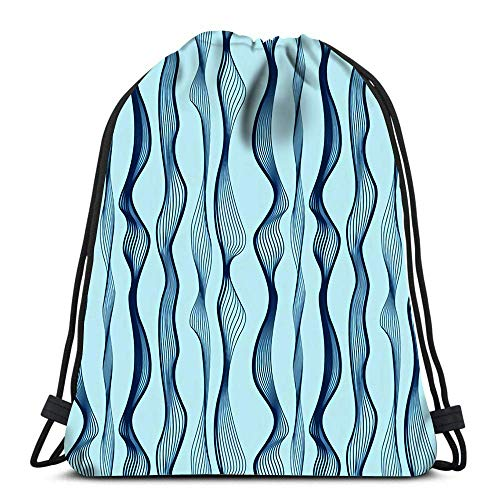 Unisex Drawstring Bags,Abstract Wave Blue Men & Women Drawstring Backpack Foldable Tote Sack Cinch Bag Sport Gym Bag For Swimming School Running