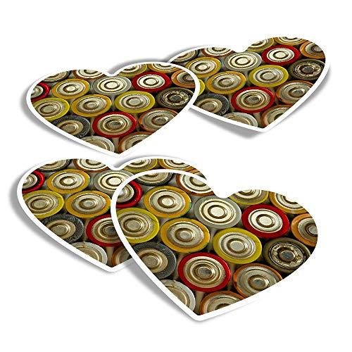 Pegatinas de corazón de vinilo (juego de 4) – Baterías retro Power Bank divertidas calcomanías para portátiles, tabletas, equipaje, reserva de chatarra, frigoríficos #3084