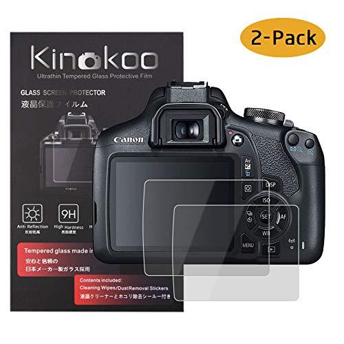 kinokoo Película de Vidrio Templado para Canon EOS 1200D/1300D/1500D/2000D Crystal Clear Film Protector de Pantalla Canon 1200D 1300D 1500D 2000D sin Burbujas/antiarañazos (Paquete de 2)
