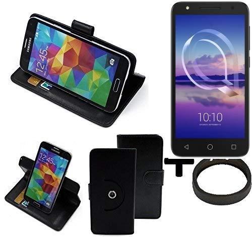 K-S-Trade® Case Schutz Hülle Für -Alcatel U5 HD Single SIM- + Bumper Handyhülle Flipcase Smartphone Cover Handy Schutz Tasche Walletcase Schwarz (1x)