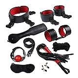 NoLZQ Rojo 9 piezas de cuero Conjunto de nylon Set juguetes adultos impresionante for Parejas Consiguiendo Bed Juegos de Amor Kit for Hombres Mujeres b.d.š-ṃ bô.ňd.áģê lí-ńģêriê hán-dćῡffs ŕešt-rain-t