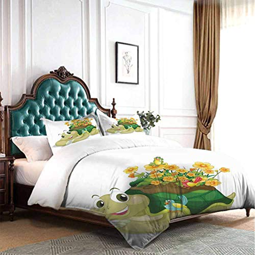 Bedding Cover Set with Zipper Ties Funny Floral Turtle Talking with Colorful Humming Birds Tortoise Ninja Home Decoration Full Size W79 INCH x L90 INCH 4pc Duvet Cover Set